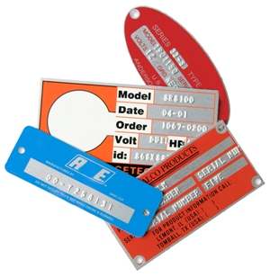 cluster of metal plates and tags