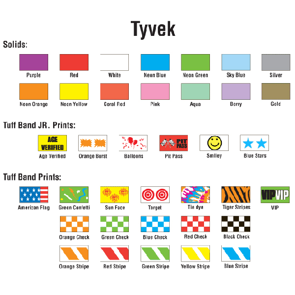 Tyvek Wristband Colors, Designs and Prints