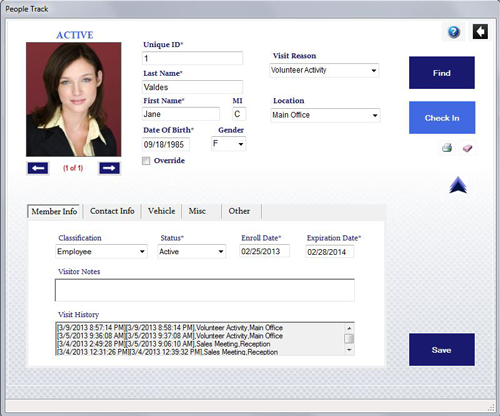 PeopleTrack Corporate Visitor Management Screenshot